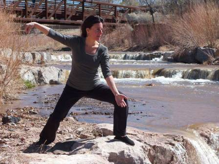 Jill Basso in Snake pose - Desert Sage Tai Chi Classes, Santa Fe